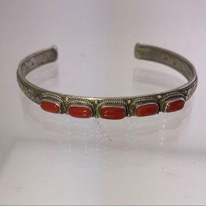 Vintage Navajo Coral Stone Silver Bangle Bracelet